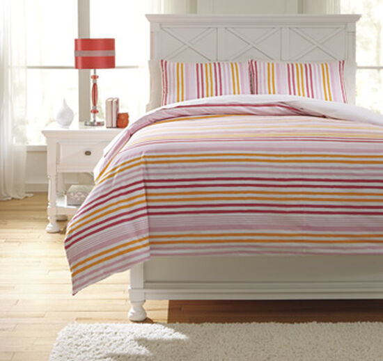 Three-Piece Striped Casual Full Duvet Cover Set