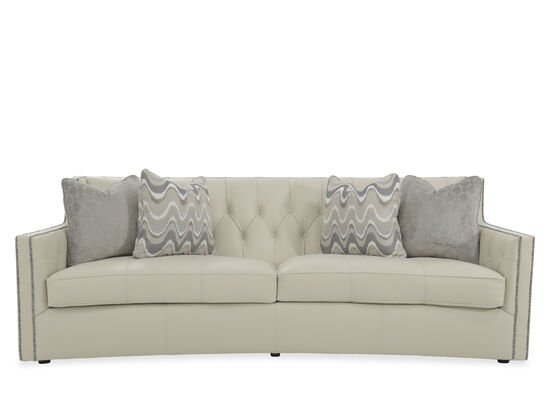 "Button-Tufted 96"" Leather Sofa in White"