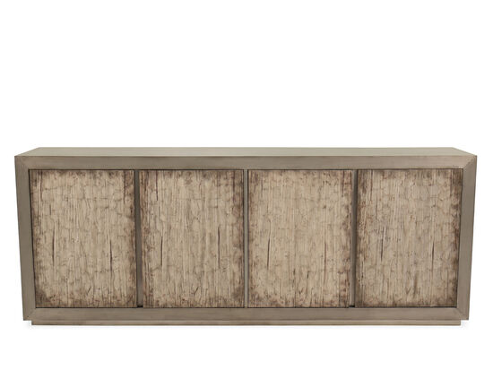 Transitional Aluminum-Wrapped Credenza in Silver