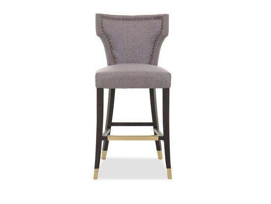 Casual Nailhead-Accented Barstool in Gray