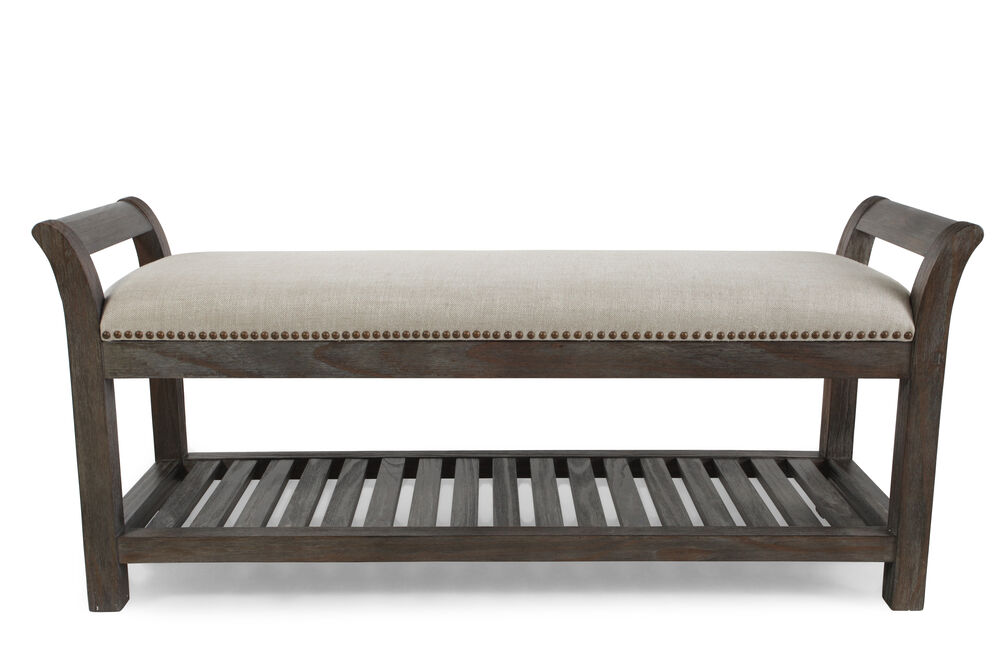 "Nailhead Accented Casual 54.5"" Bed Bench in Cream"