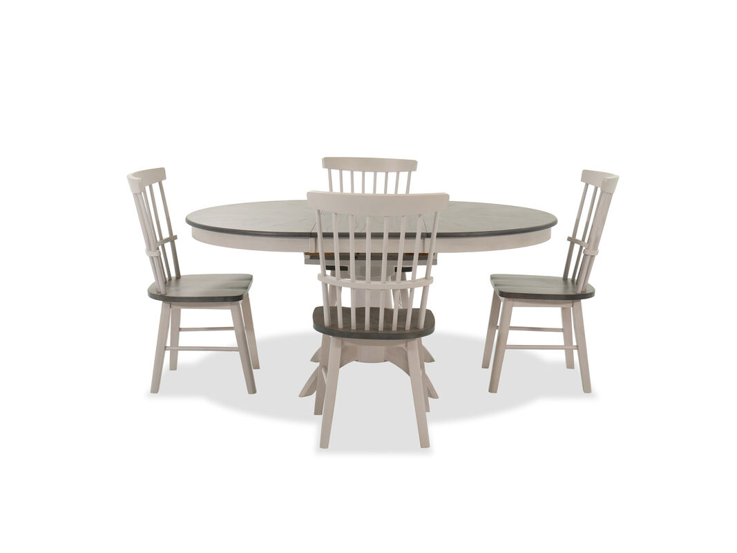 Navy And Gold Dining Room, Transitional Five Piece Dining Set In Light Gray Mathis Brothers Furniture