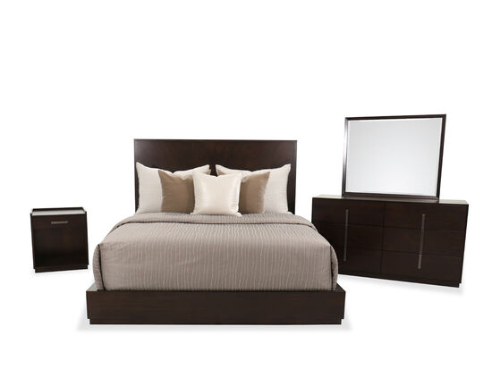 Four-Piece Contemporary King Bed Suite in Dark Brown