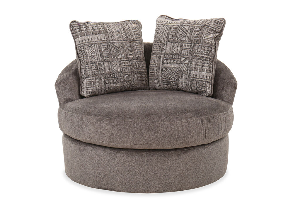 """Contemporary 45"""" Swivel Accent Chair in Ash"""