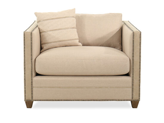 "Casual Nailhead-Accented 42.5"" Chair in Beige"