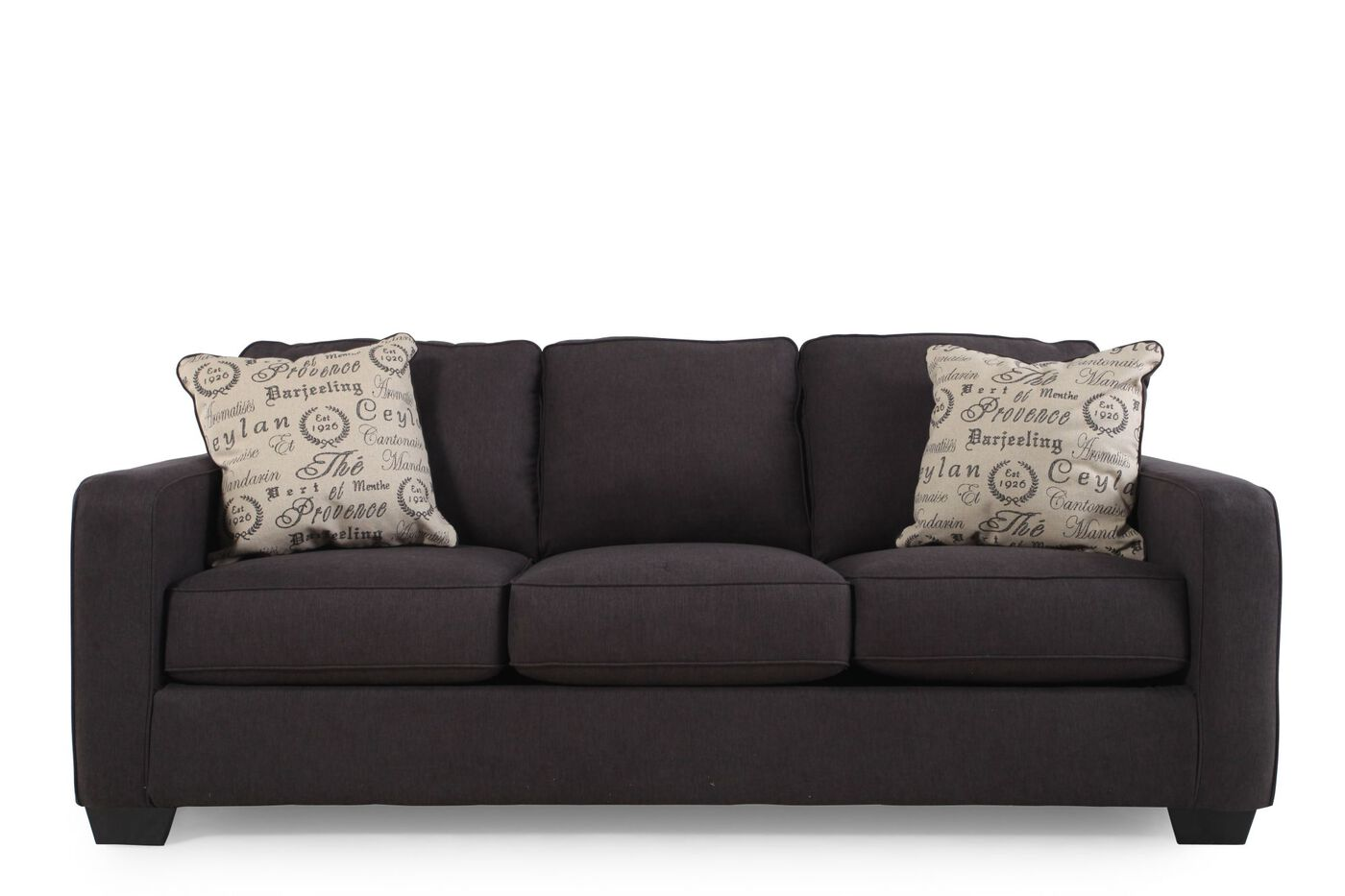 Low profile casual 84 sofa in charcoal mathis brothers for 84 inch sofa