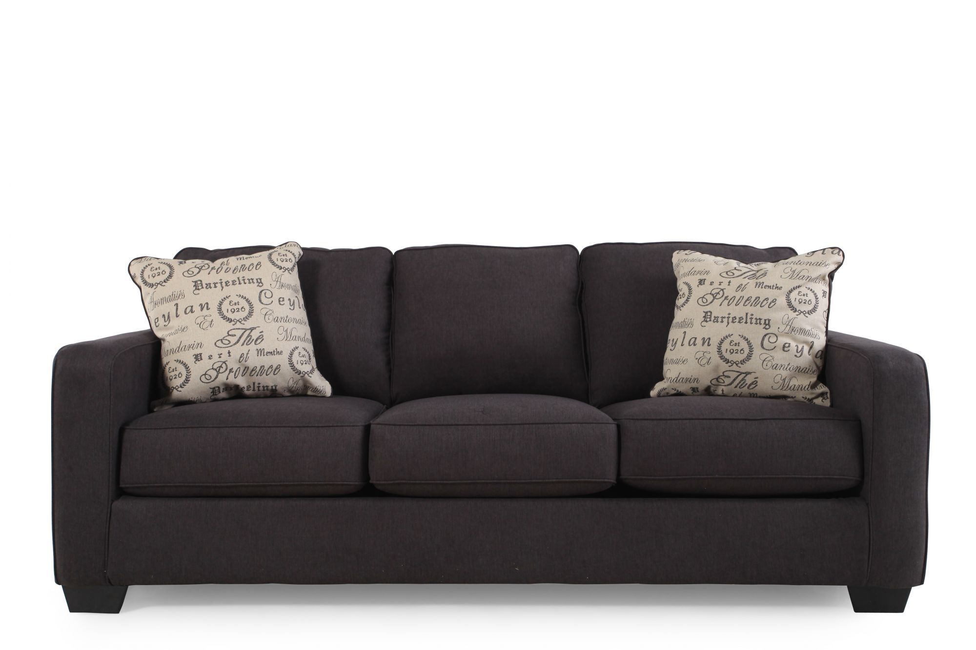 Low Profile Casual 84u0026quot; Sofa In Charcoal