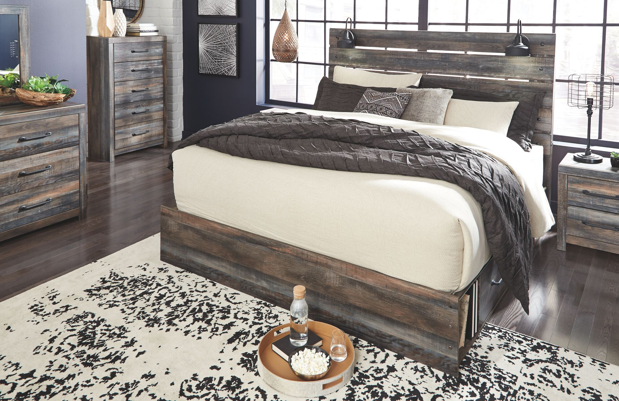 Drystan Multi 7 Pc Dresser Mirror Chest Queen Panel Bed With Storage Mathis Brothers Furniture
