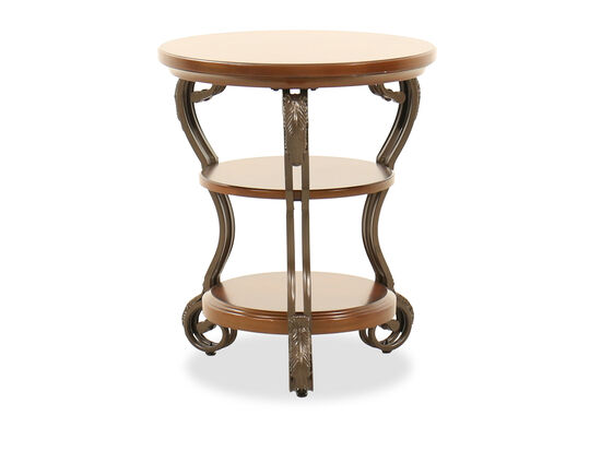 Traditional Round Chairside Table in Brown