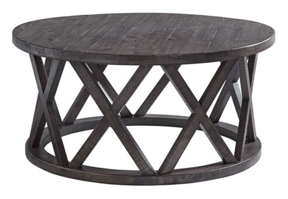 Sharzane Grayish Brown Round Cocktail Table Mathis Brothers Furniture