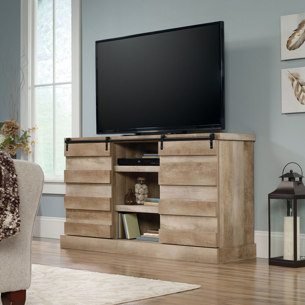 Contemporary Six Adjustable Shelf Credenza In Lintel Oak Mathis Brothers Furniture