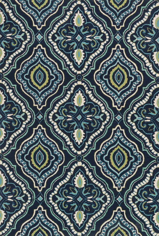 "Transitional 2'-3""x3'-9"" Rug in Navy/Aqua"