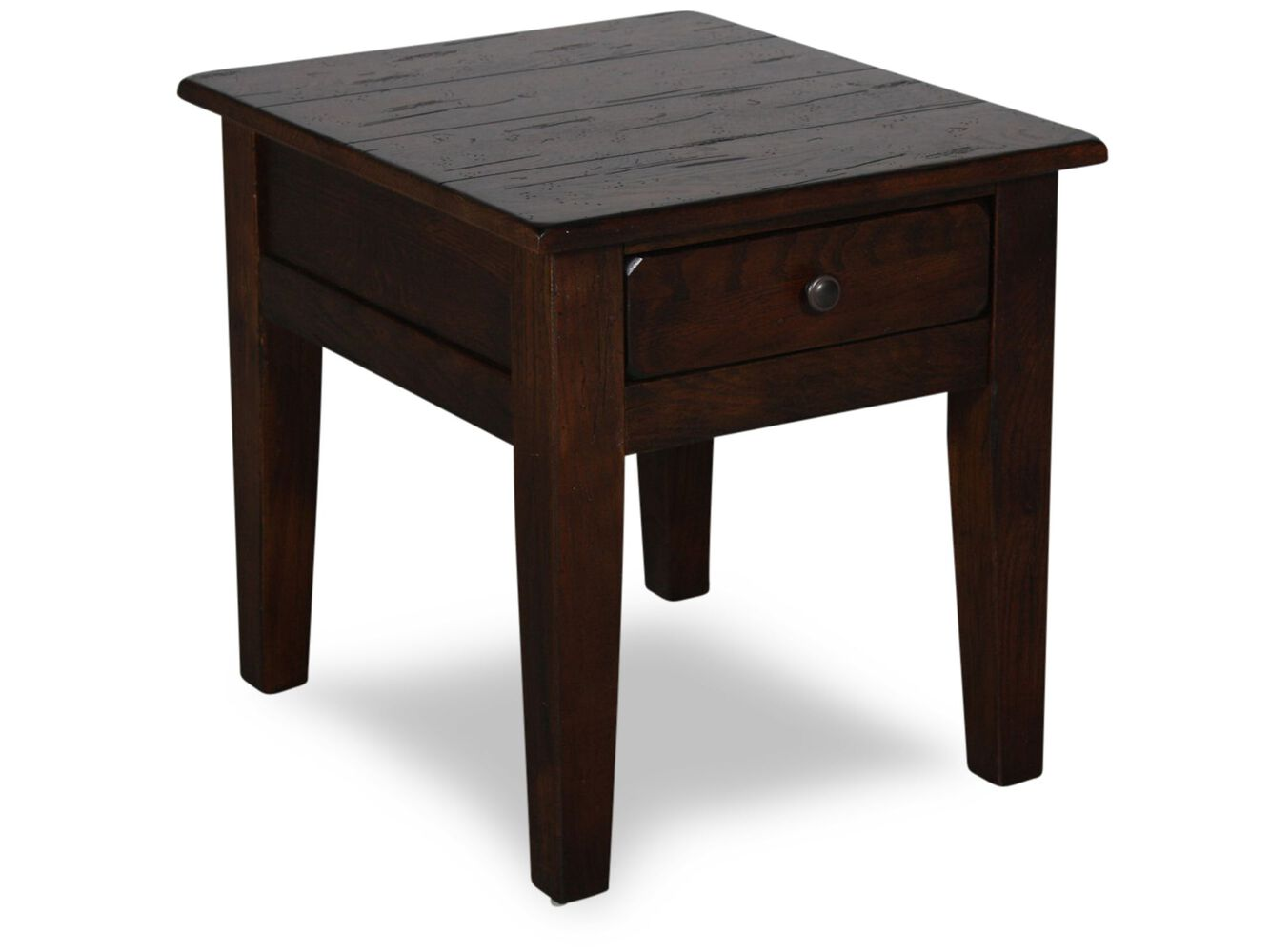 Textured Square Country End Table In Dark Oak Mathis Brothers Furniture