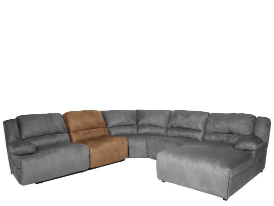 """Microfiber 37"""" Armless Sectional Chair in Mocha"""