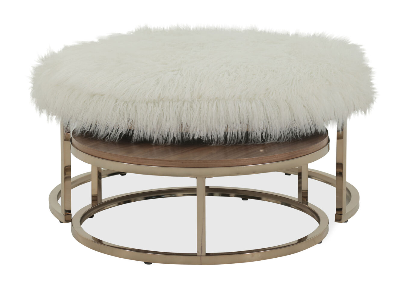 Round Transitional Nested Cocktail Table In Champagne