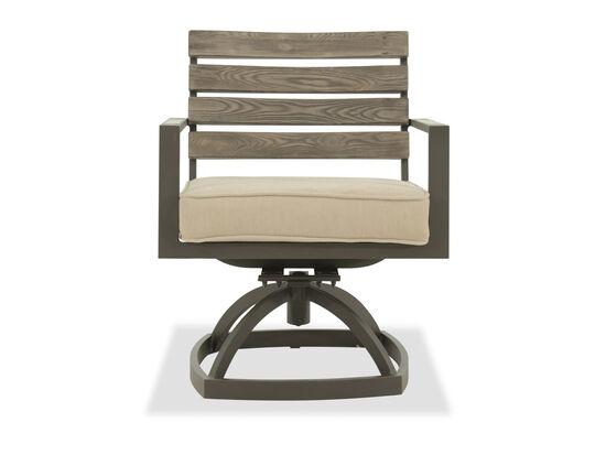 Panel-Back Aluminum Swivel Chair in Beige