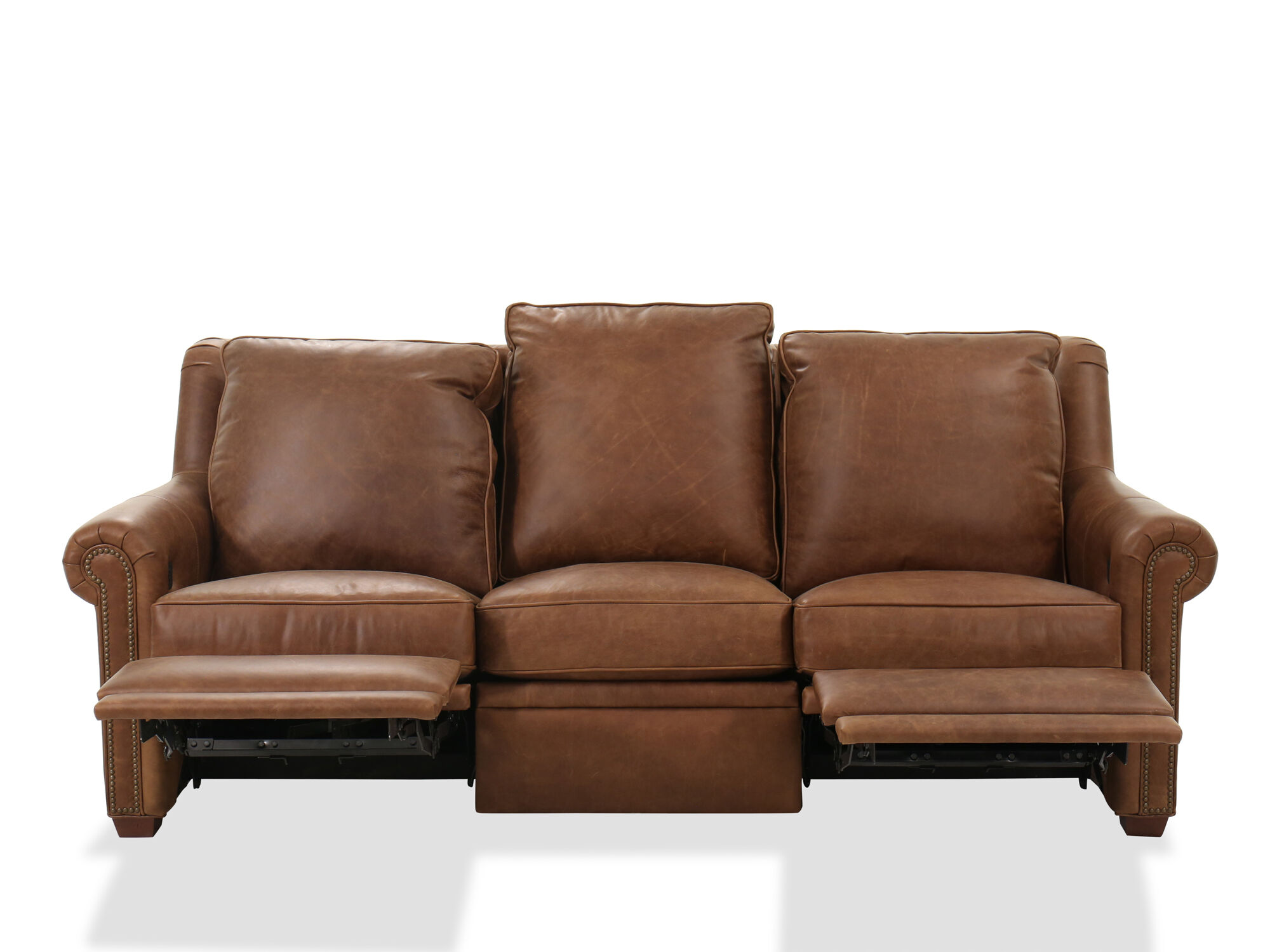 Power Reclining Leather 75 Quot Sofa In Brown Mathis