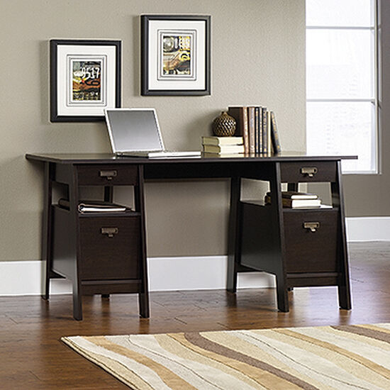 "59"" Transitional Executive Trestle Desk in Jamocha Wood"