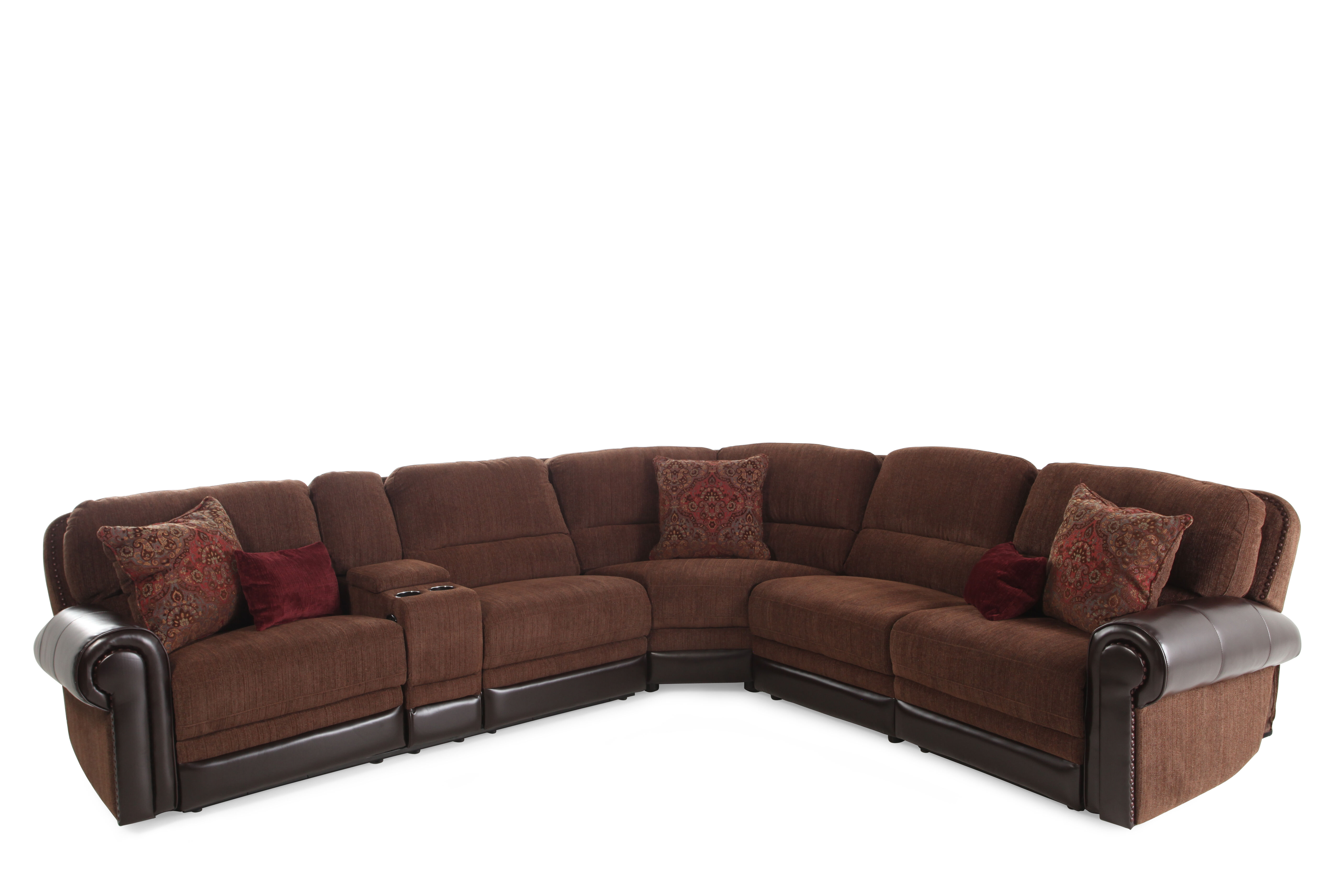 Images Traditional 98u0026quot; Tapestry Patterned Power Reclining Sectional In  Dark Russet
