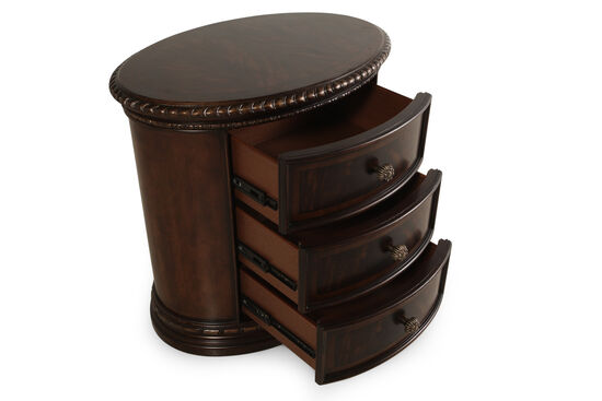 "30"" Traditional Three-Drawer Oval Nightstand in Blackened Sorrel"