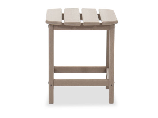 Modern Slatted Patio End Table in Driftwood