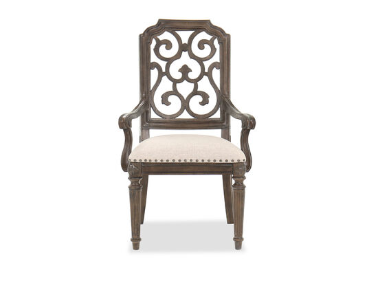 Traditional Nailhead-Accented Dining Chair in Beige