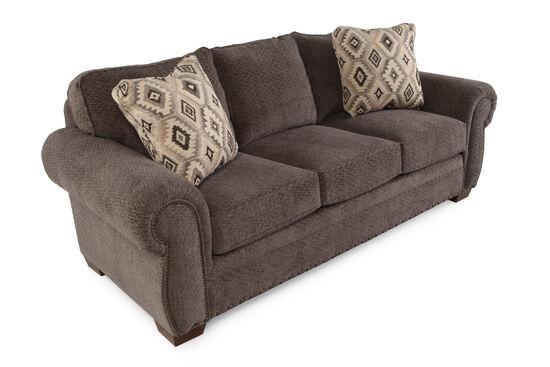 "Nailhead-Accented 90"" Microfiber Sofa in Russet Brown"