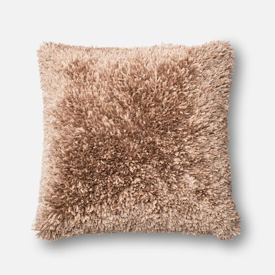"""Contemporary 22""""x22"""" Cover w/Poly Pillow in Tan"""