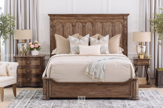 "74.5"" Traditional King Panel Bed in Brown"