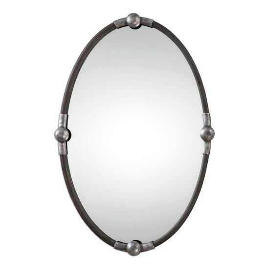 "32"" Burnished Frame Oval Mirror in Rust Black"
