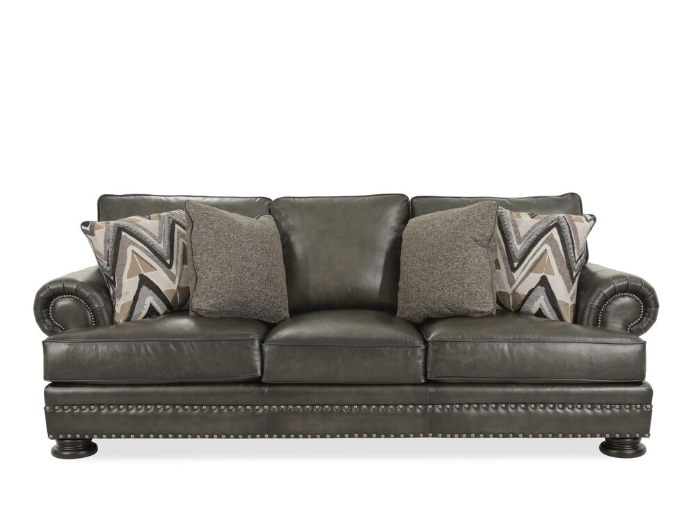 Images Leather Rolled Arm 98 Sofa In Mocha
