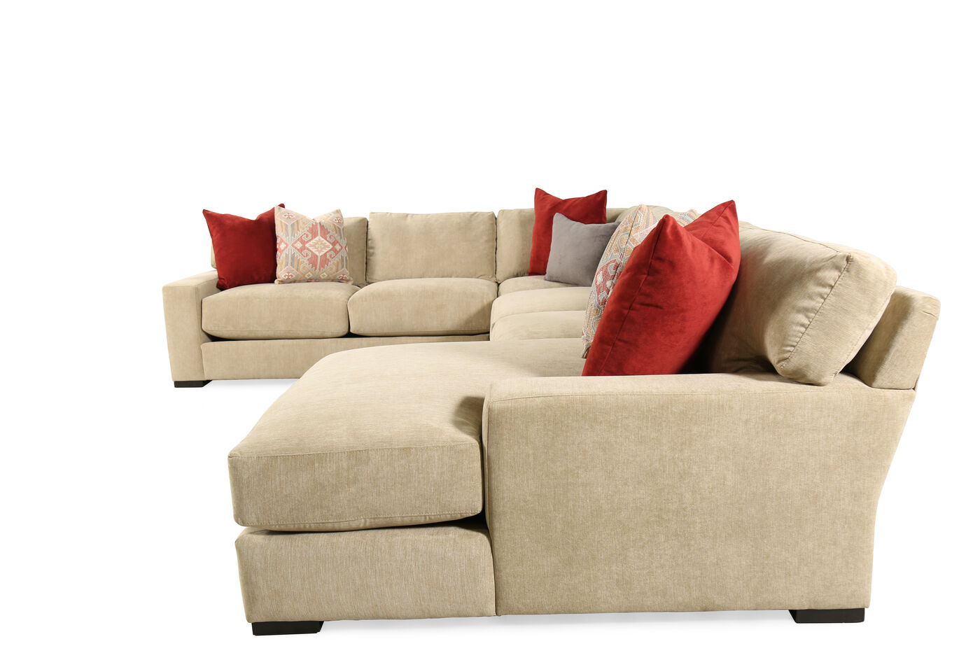 Four piece microfiber 218quot sectional in milk chocolate for 4 piece sectional sofa microfiber