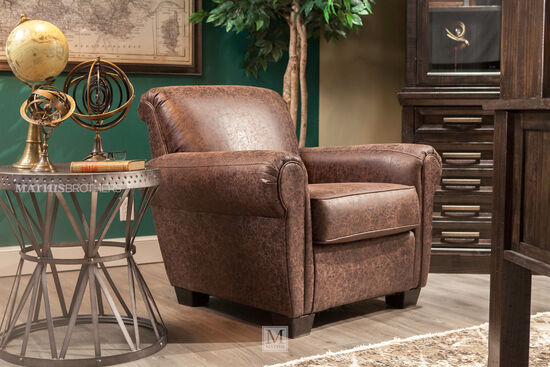 """Distressed Traditional 38"""" Accent Chair in Brown"""