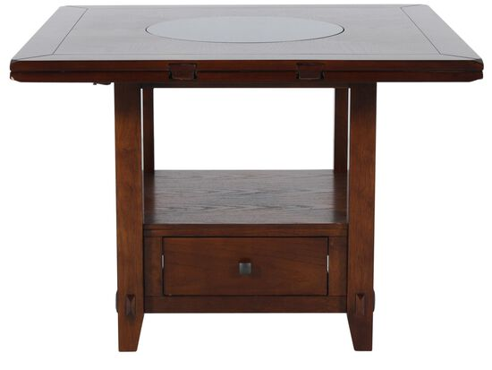 Country 42 to 60 storage pedestal lazy susan dining for Dining room table 42 x 60
