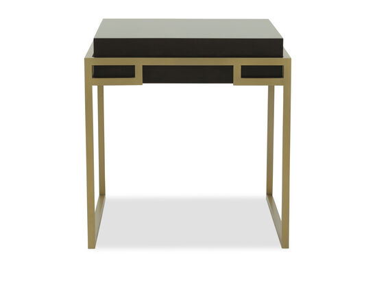 Traditional Rectangular End Table in Brushed Brass