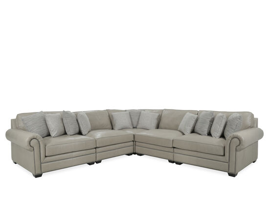 Five-Piece Leather Sectional in Beige