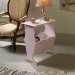 Contemporary Storage Side Table in Pink
