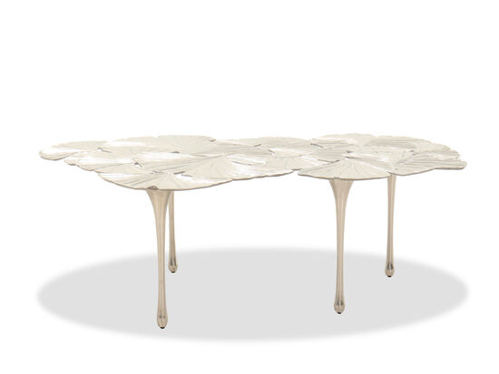 Contemporary Cocktail Table in Satin Nickel