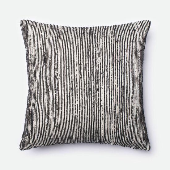 """Contemporary 22""""x22"""" Cover w/Down Pillow in Black/Multi"""