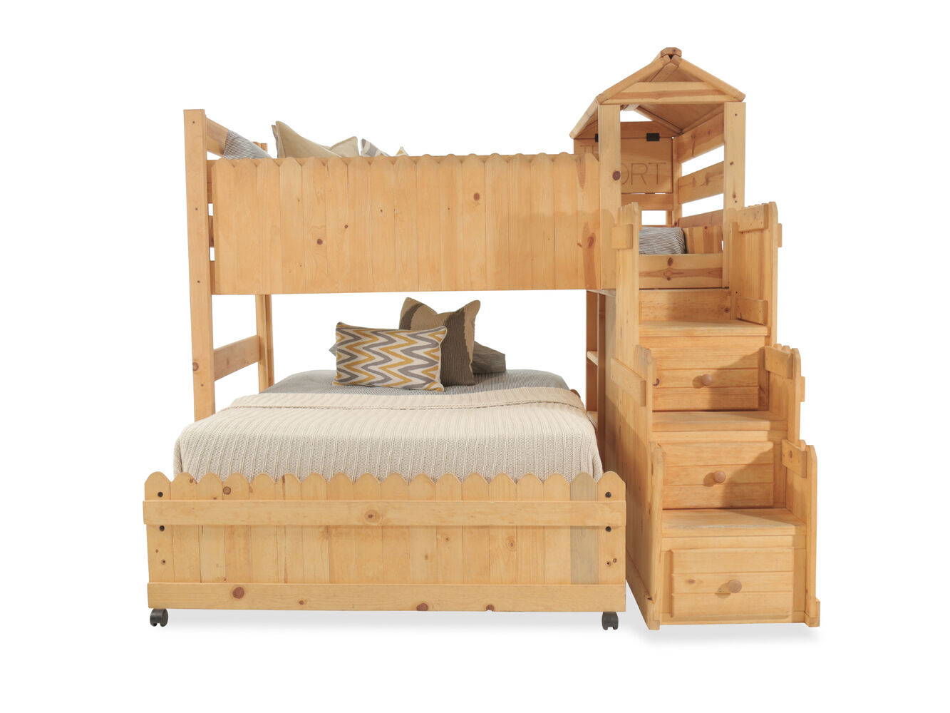 Transitional Youth Loft Bed With Stairway Chest In Medium
