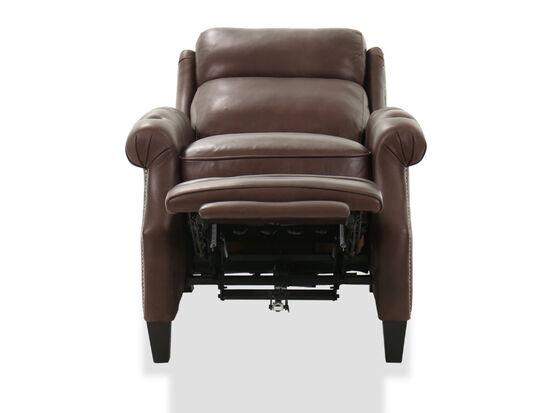 "33"" Leather Nailhead Accented Power Recliner in Chocolate"