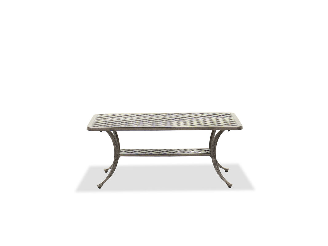 Both the table top and the display shelf have lattice designs for a patterned twist a relaxed gray finish makes it a soothing inclusion to modern patios