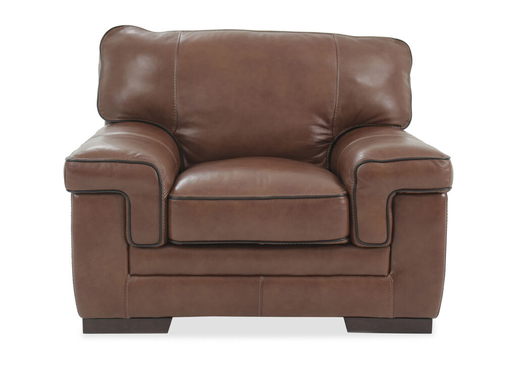 """Casual Leather 47"""" Chair in Chestnut"""