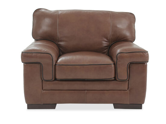 "Casual Leather 47"" Chair in Chestnut"