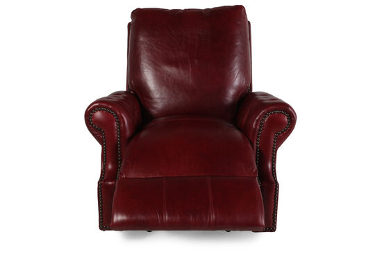 "Nailhead-Accented 44"" Leather Recliner in Red Berry"