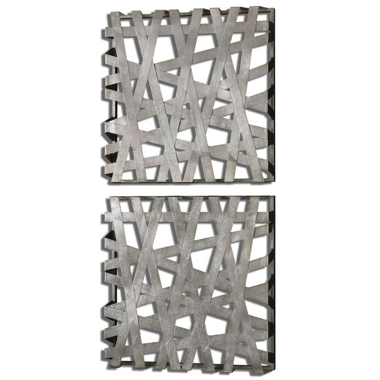 Two-Piece Banded Squares Wall Art in Silver Leaf