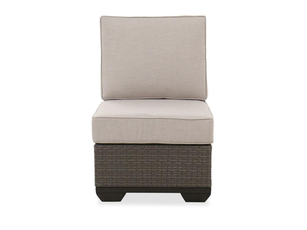 Casual Armless Club Chair in Brown