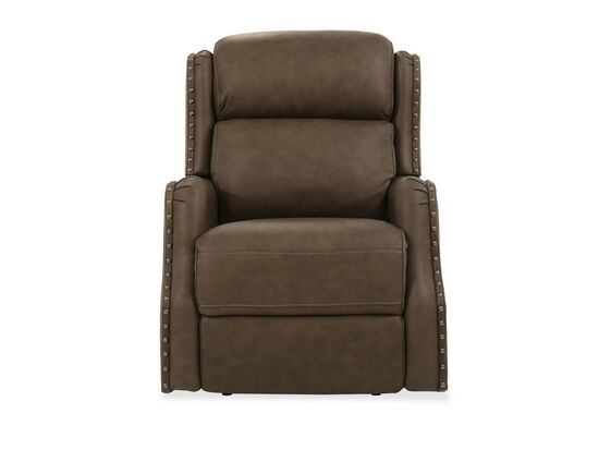 "32"" Nailhead-Accented Leather Power Recliner in Brown"