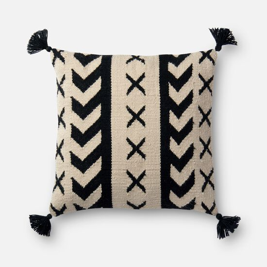 """Indoor/Outdoor 18""""x18"""" Cover w/Down Pillow in Black/Ivory"""