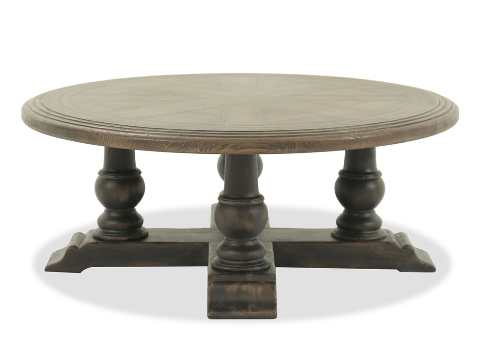 Round Traditional Cocktail Table In Dark Brown Mathis Brothers Furniture